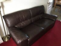 2 Brown Leather Sofas - a 2 seater & a 3 seater