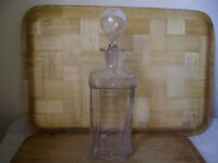 SQUARE GLASS DRINKS DECANTER,I THINK FROM 1950'S