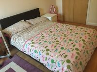 Leather Effect Double Bed with Henley Pocket Sprung Mattress - Almost New