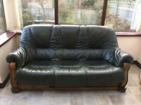 3 Seater Green Leather Sofa With Matching Armchair