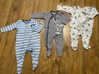 Baby boys sleepsuits age 6-9m