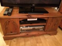 ornate tv stand in wood