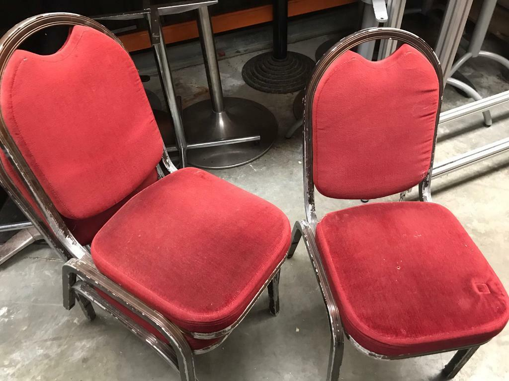 5 Banquating chairs red. Good framein Bishops Stortford, HertfordshireGumtree - 5 Banquating chairs red. Good frame and fabric. Need re spray or chair covers to use them. Delivery can arrange £35