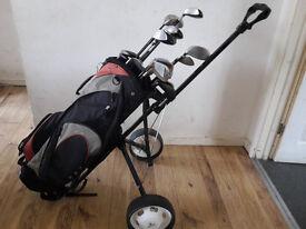 Golf clubs + trolley+bag