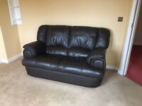 Sofa leather two seater brown