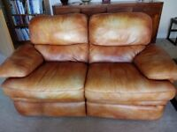 Tan leather sofas - a two seater and a three seater