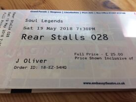 2 tickets to see the Soul Legends at Skegness Embassy Theatre.