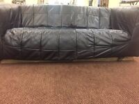 3-seater black leather IKEA sofa - good condition - replacement base