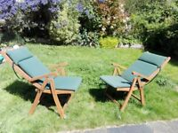 6 wooden fold-able garden chairs/ recliners. Nearly new. Including lounger cushions in green.