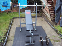 Pro Power Workout Bench With Cast Weights & Bars