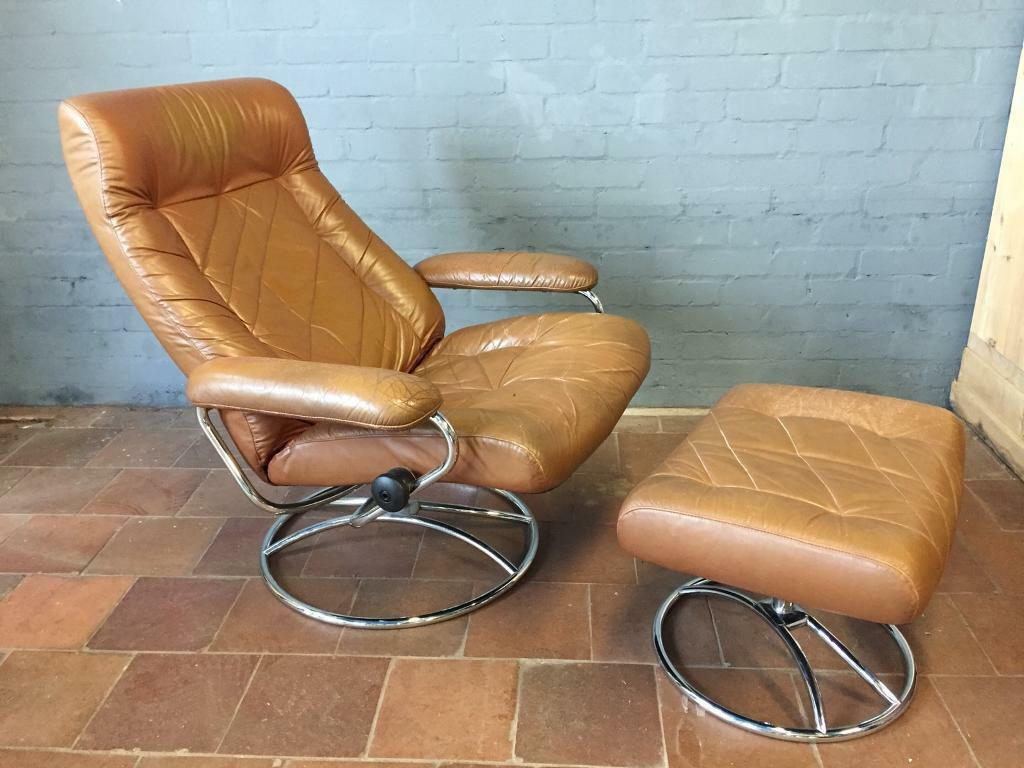 Vintage Retro 70s Leather Reclining Chair Stool