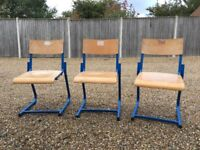 VINTAGE RETRO ADULT SCHOOL CHAIR WOODEN/BLUE METAL 16 AVAILABLE RESTAURANT/CAFE
