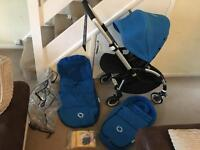 Bugaboo bee plus one button fold in royal blue with accessories