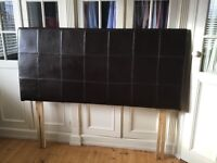 King Size Headboard Chocolate Brown Leatherette