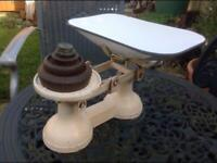 Old Fashioned weighing Scales with weights made by FJ Thornton & Co