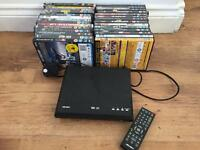 DVD player and 27 DVDs