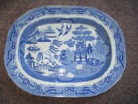 LARGE BLUE AND WHITE SEMI-CHINA MEAT SERVER/PLATTER