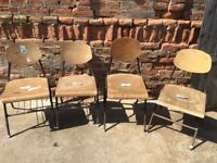 Vintage Metal Frame School Chairs Solid Plywood Dining Seats Seating Retro Café