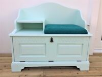 Vintage refurbished hall telephone seat - chair, table and cabinet