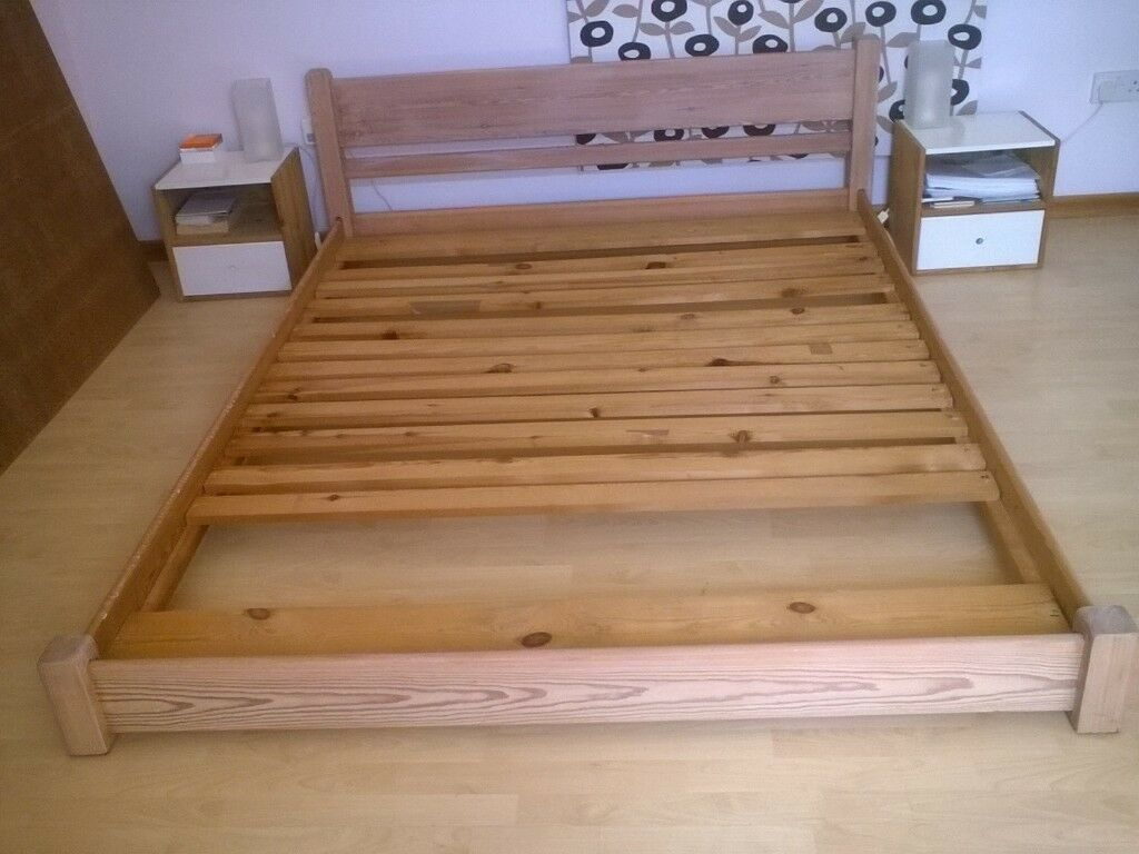 King Size Solid Pine Bed Low To The Floor With A Faint White Stain Bring Out Grain