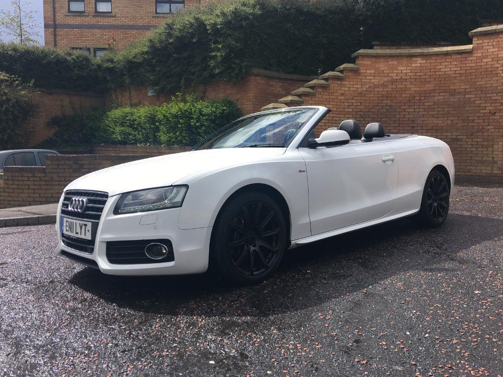 2011 white audi a5 s line convertible 211 2 0tfsi petrol quattro in bradford west. Black Bedroom Furniture Sets. Home Design Ideas