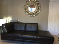 Black leather IKEA sofa - excellent condition