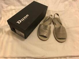 Ladies dune silver sandals, size 6