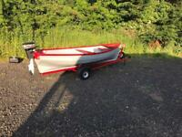 14 ft boat trailer outboard and oars