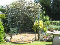 Metal garden pergola.