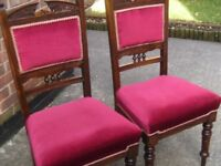 Two Beautiful Wooden Dining Chairs With Hand Carved Back & Hand Turned Legs.