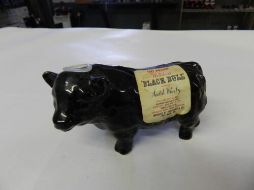 VINTAGE MINI LIQUOR BOTTLE- BLACK BULL SCOTCH WHISKY- CERAMIC BULL- VINTAGE BAR