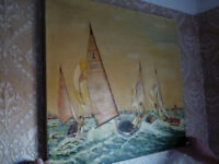 Sailing Boats, Racing Boats, Ocean Racing Oil Painting