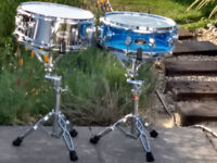 Drum Workshop Pacific Acrylic Snare, 14'' x 5'' as shown on right in first two picture