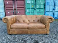 Beautiful Chesterfield Natural Tan Leather 2.5 Seater Sofa Bed
