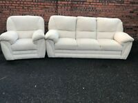 Fabric two piece suite, three seater sofa, couch, settee, single chair (free local delivery 🚚🚚🚚)