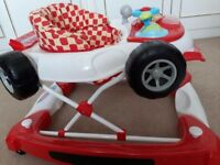 Baby Walker red and white racing car