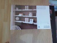 floating shelves in light oak