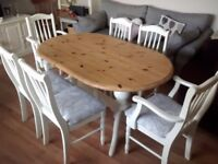 Beautiful Shabby Chic Solid Pine Dining Table and Chairs