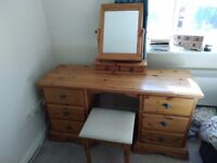 Dressing table with stool and mirror in good used condition
