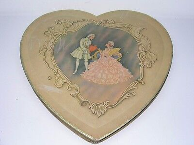 ANTIQUE VICTORIAN VALENTINE'S DAY HEART SHAPED CHOCOLATE CANDY BOX