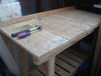 DIY Workbench with scaling and lower shelf for storage