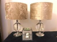 """17"""" Set of two Lamps with Beige Velvet Shade"""