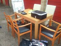 good table with free 4 leather dinning chairs