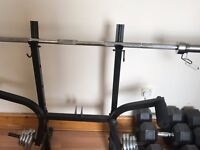 Benching Workstation with 20kg Weight Bar and Side Weights £70 BARGAIN!
