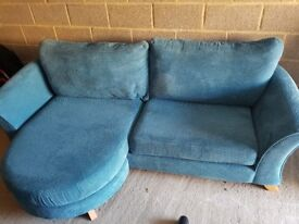 £500 ONO DFS Teal Kiera 4 seater formal back lounger