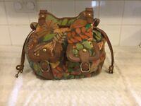 New Look leather look & leaf patterned handbag