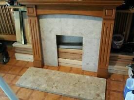 Fireplace frame +stone