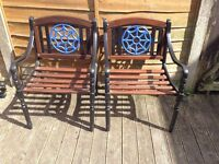 Antique cast iron garden chairs fully restored to the highest standard £220