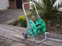 Hozelock wheeled hose reel cart .
