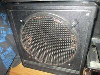 "compact 1x15"" bass cab,200watt stereo slave, 4 u flightcase, stands, cables etc"